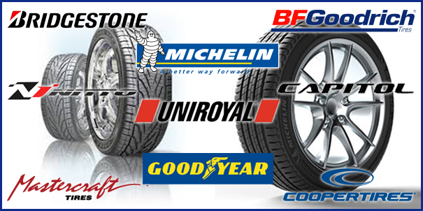 Tires - Bridgestone - BFGoodrich - Michelin - Nitto - Uniroyal - Capitol - Mastercraft Tires - GoodYear - CooperTires